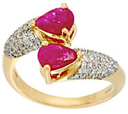 As Is PearCut Mozambique Ruby & Pave Diamond By-Pass Ring, 14K, 1.20 cttw - J346860