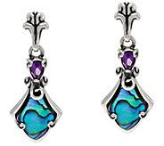 Carolyn Pollack Sterling Silver Abalone Doublet & Amethyst Earrings - J347060