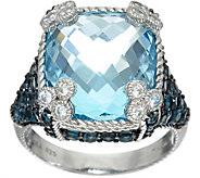 Judith Ripka Sterling Silver 16.50 cttw Blue Topaz Monaco Ring - J348260