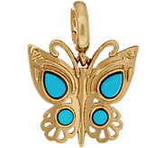Sleeping Beauty Turquoise Butterfly Brass Charm by American West - J349160