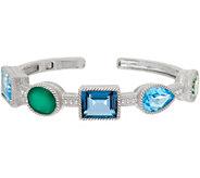 Judith Ripka Sterling 15.20 cttw Gemstone Cuff Bracelet - J349560