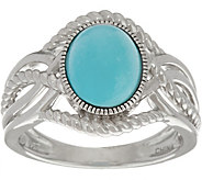 Oval Sterling Turquoise Rope Design Ring - J349660