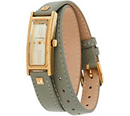 Judith Ripka Stainless Steel Goldtone Leather Wrap Westport Watch - J350760