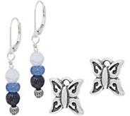 American West Sterling Silver Gemstone Bead & Charm Earring Set - J352060