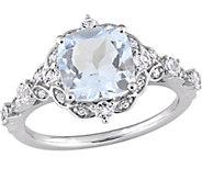 14K 2.55 cttw Aquamarine & White Sapphire Vintage-Style Ring - J377060