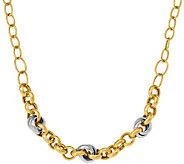 14K Two-tone Rolo Crossover 18 Necklace, 11.8g - J377260