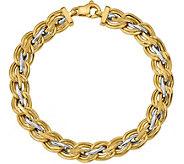 Italian Gold Two-Tone Satin and Polished Link Bracelet 14K - J377660