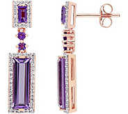 3.35 cttw Amethyst & 3/10 cttw Diamond Drop Earrings, 14K - J377760