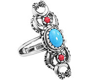 American West Sterling Naja Red Coral & Turquoise Ring - J381160