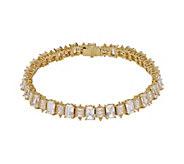 Judith Ripka 14K Clad 8-1/4 Emerald-Cut Diamonique Bracelet - J381260