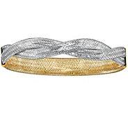 Italian Gold Two tone Mesh Stretch Bracelet 14K, 3.0g - J381560