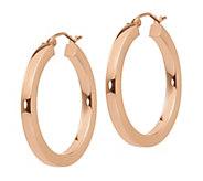 14K Gold 1-1/4 Square Tube Hoop Earrings - J381860