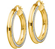 Italian Gold 1-1/4 Glimmer Hoop Earrings 14K,3.7g - J382260
