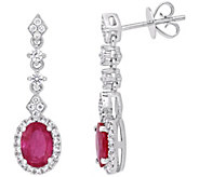 14K Gold 1.85 cttw Oval Ruby & Diamond Drop Earrings - J382360