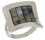 Mosaic Mother-of-Pearl Sterling Concave Design Ring - J154261