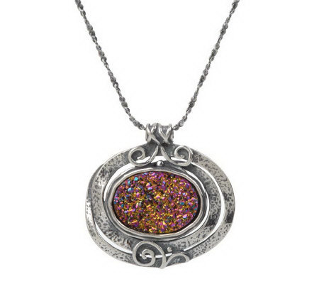 or paz sterling drusy quartz oval textured pendant w chain