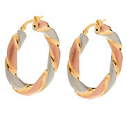Veronese 18K Clad 1-3/8 Tri-color Twisted Hoop Earrings - J269061