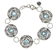 Or Paz Sterling Blue Topaz Textured Bracelet - J281361