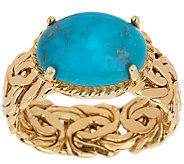 14K Gold Bold Byzantine & Turquoise Ring - J291361