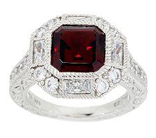 Judith Ripka Sterling Estate 4.50 ct Garnet & Diamonique Ring