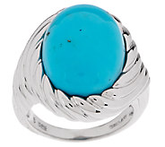 Bold Turquoise Scroll Design Sterling Ring - J292561