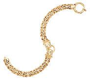 14K Gold 7-1/4 Yellow Panther Head Byzantine Bracelet, 10.2g - J292761