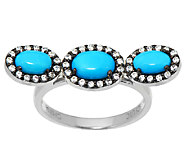 Graziela Gems Sleeping Beauty Turquoise & Zircon Sterling Wave Ring - J296261