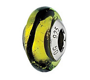 Prerogatives Lime with Black Stripes Italian Murano Glass Bead - J300361