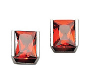 Stainless Steel Red Cubic Zirconia Stud Earrings - J302461