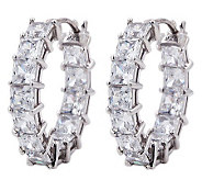 Diamonique Princess Cut 7.00 cttw Hoop Earrings , Platinum Cla - J303561