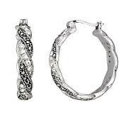 Suspicion Sterling Marcasite & Crystal Twist Earrings - J304461