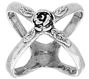 Sterling Silver Rose Design X-Ring by Or Paz - J318861