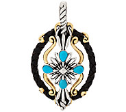 American West Sterling/Brass Turquoise Leather Enhancer - J320461