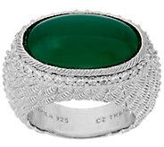 Judith Ripka Sterling Oval Gemstone & Diamonique Ring - J321461