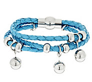 As Is Stainless Steel Multi-Strand Braided Leather Bracelet - J322861