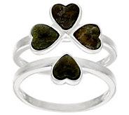 As Is Connemara Marble & Sterl. Interlocking Shamrock Ring - J325761