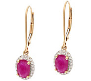 Oval Mozambique Ruby & Diamond Drop Earrings 14K Gold 1.30 cttw - J328261