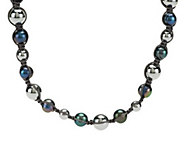 As Is Honora Cultured Pearl and Hematite Macrame Necklace - J328561