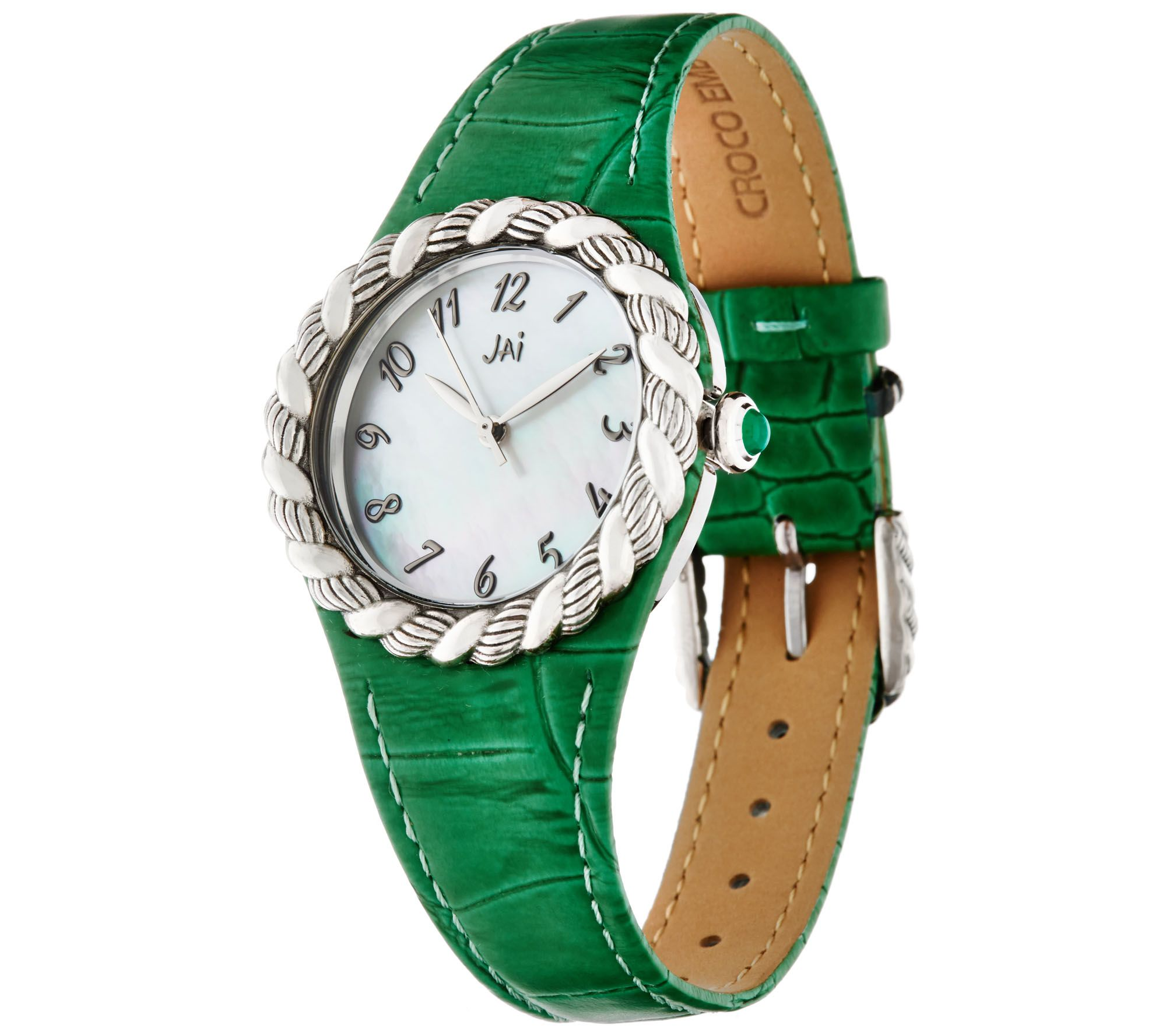 JAI Stainless Steel Croco Texture Leather & Sukhothai Watch