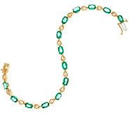 Ruby, Emerald or Sapphire 6-3/4 Leaf Design Tennis Bracelet, 14K - J330161