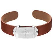 As Is Diamonique Tan Leather Symbol Cuff - J330361