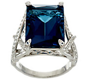Emerald Cut London Blue Topaz Sterling Silver Ring, 14.00 ct - J331261