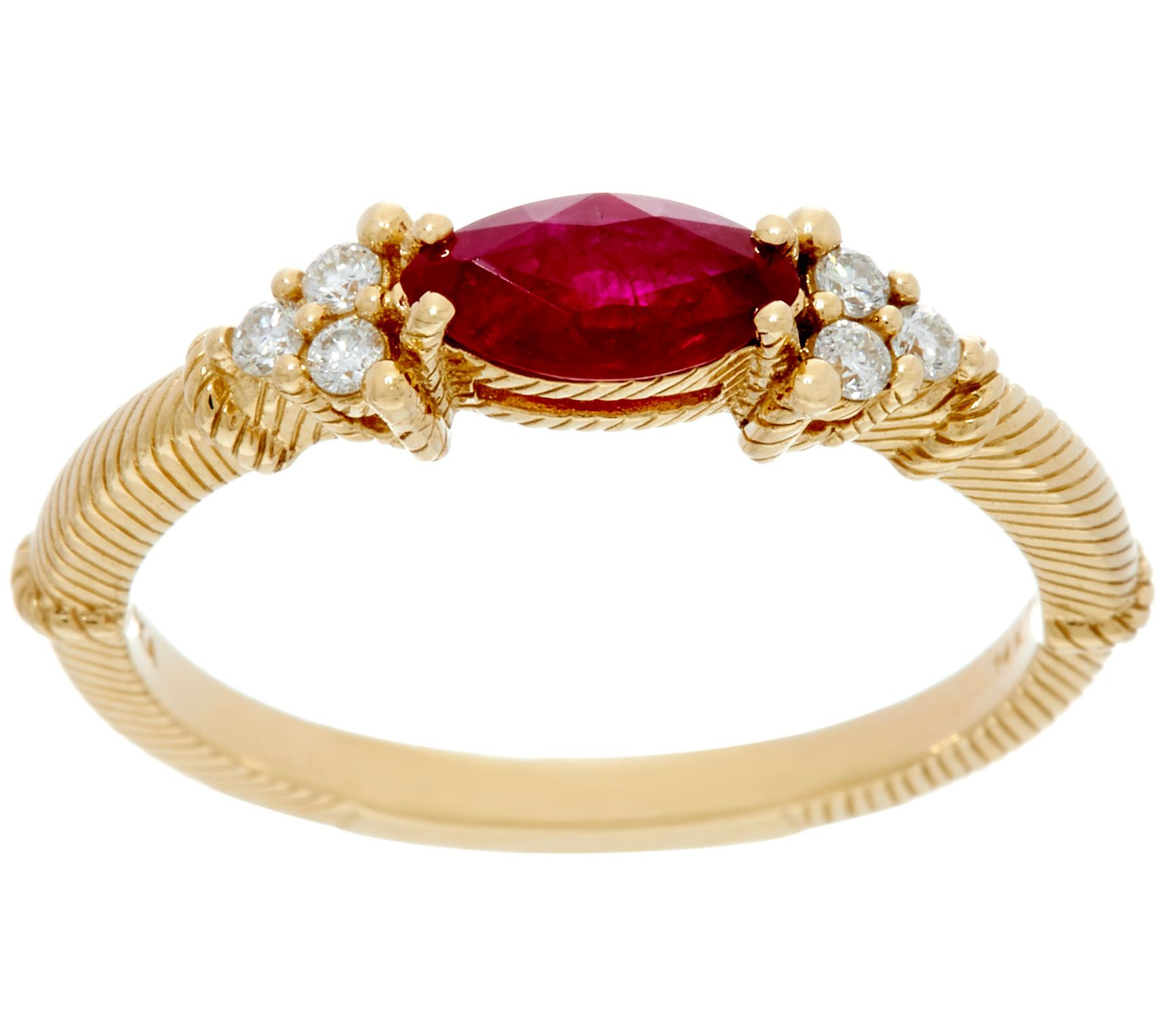 judith ripka 14k gold emerald or ruby 1 10 cttw diamond
