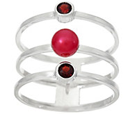 As Is Honora Cultured Pearl & Gemstone Triple Band Sterling Ring - J332661