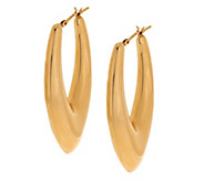 As Is Oro Nuovo Elongated Teardrop Design Hoop Earrings 14K - J332961
