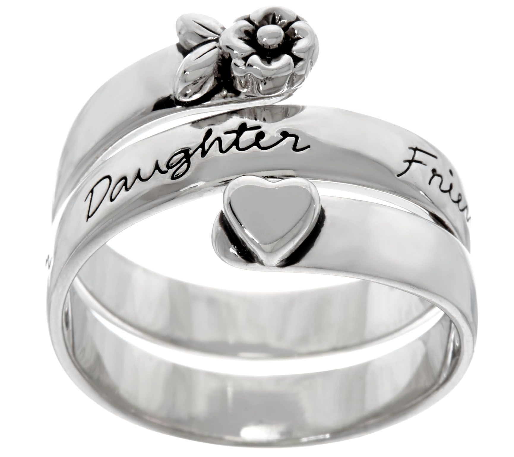 Extraordinary Life Sterling Message Bypass Ring Page 1 — QVC