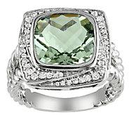 4.00cttw Cushion-Cut Green Amethyst & Diamond Ring, Sterling - J336761