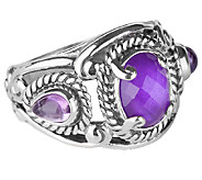 Carolyn Pollack Sterling Amethyst Doublet Ring - J337761