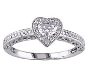 Diamond Heart Halo Ring, 1/2cttw, 14K White Gold, by Affinity - J339461