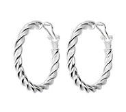 UltraFine Silver 1-1/2 Twisted Omega Back HoopEarrings - J339961